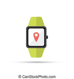 smart watch shown map pointer location on screen isolated vector flat icon on white background