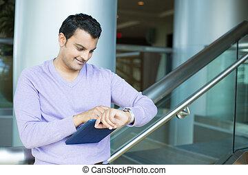 Smart watch, smart pad, smart man - Closeup portrait, happy...