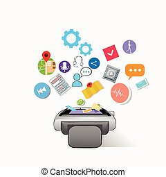 Smart Watch Technology Electronic Device Apps Icons Set Collection