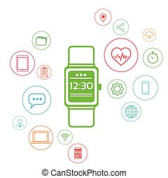 Smart Watch Technology Electronic Device Apps Icons Set Thin Line Simple