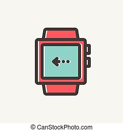 Smart watch thin line icon