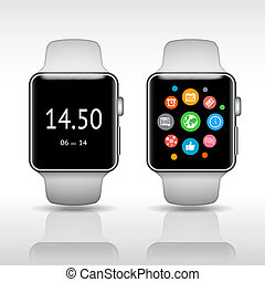 Smart watch with app icons on white background vector...