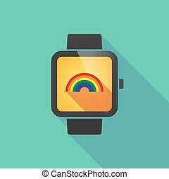 Smart watch vector icon with a rainbow