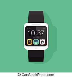 Smart watch vector illustration isolated on colorful background