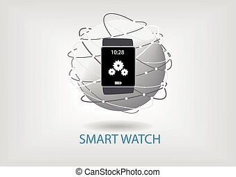 Smart Watch Vector illustration with connected world