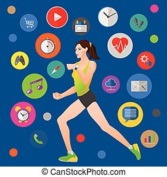 Smart watch vector illustration with fitness woman