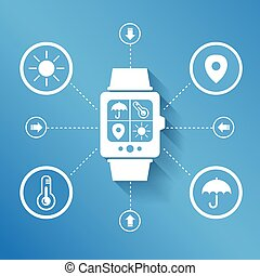 Smart watch wearable device for weather concept