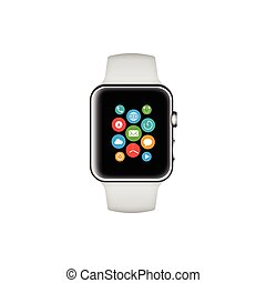 Smart watch white with icons vector illustration