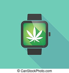 Smart watch with a marijuana leaf