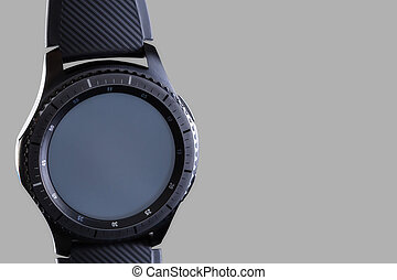 smart watch with an empty dial on a gray background - smart...