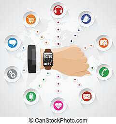 Smart Watch with Applications - Smart Watch with set...