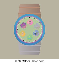 Smart watch with apps icons
