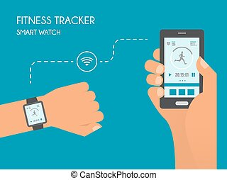 Smart devices health tracking infographics quantified self smart watch with fitness application for health synchronization of devices health test illustration in malvernweather Image collections