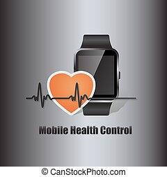 smart watch with heart beat symbol