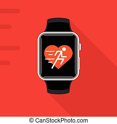 Smart watch with heart fitness app