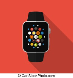 Smart watch with icons, concept. Flat design