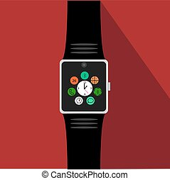 Smart watch with icons. Flat concept. Vector illustration