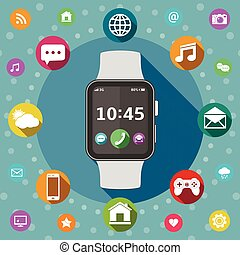 Smart watch with icons, flat design concept