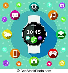 Smart watch with icons flat design