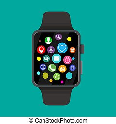 Smart watch with icons,