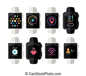Smart Watch with Interface and App Icons Set. Concept Design . Vector Illustration. Flat Style.