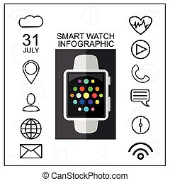 Smart Watch with Outline App Icons Set. Modern Design Concept. Vector Illustration. Flat Style.