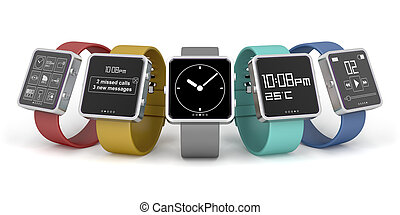 Five smartwatches with different interfaces and colors