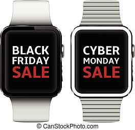 Smart watches with black friday and cyber monday sale text