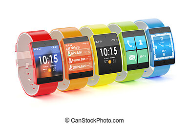 3d render of modern look smart watches with different colors and interfaces, isolated on white background
