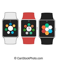 Smart watches with icons. Flat concept. Vector illustration