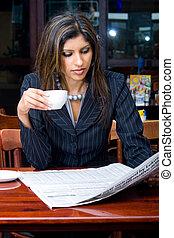 smart woman in restaurant