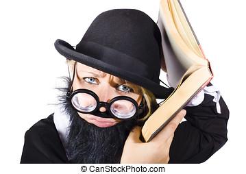 Smart woman researching info