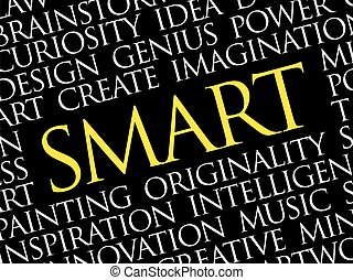 SMART word cloud collage, creative business concept...