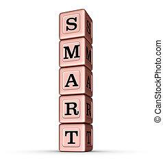 Smart Word Sign. Vertical Stack of Rose Gold Metallic Toy Blocks.