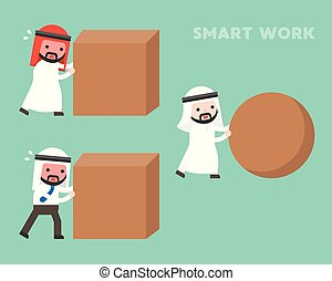 Smart work concept, Arab businessman rolling sphere rock while another businessman hard work by pushing cube stone