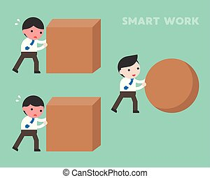 Smart work concept, businessman rolling sphere rock while another businessman hard work by pushing cube stone