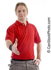 smart young man offering handshake