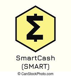 smartcash, (smart)., crypto, ilustración, vector, coi