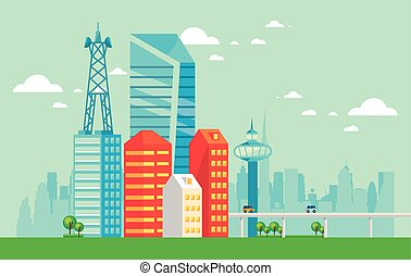 smart city urban scene with cars