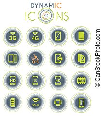 Smartphone vector icons on white background with dynamic lines for animation for web and user interface design