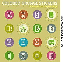 Smartphone colored grunge icons with sweats glue for design web and mobile applications