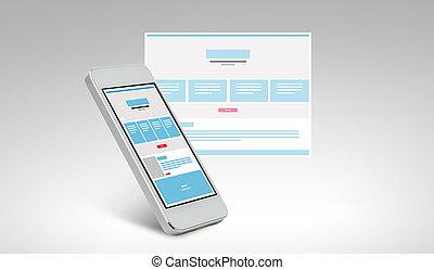 smarthphone, ∥で∥, web ページ, デザイン, 上に, スクリーン