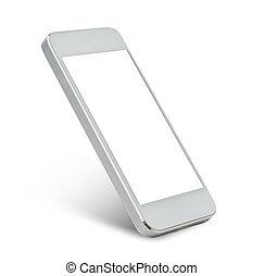 smarthphone, schirm, schwarz, weißes, leer