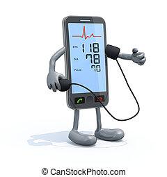 smartphone, à, bras jambes, mesure, tension artérielle
