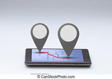 smartphone, à, carte, et, épingle, barre