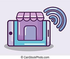 smartphone, à, maison, et, wifi, signal