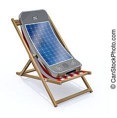 smartphone, à, panneau solaire, sur, écran