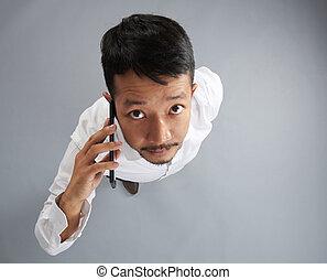 smartphone, ázsiai, beszél, ember