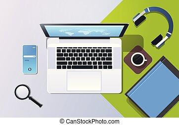 smartphone, ângulo, escritório, móvel, laptop, topo, desktop, material, local trabalho, online, tela, horizontais, computador, app, vista