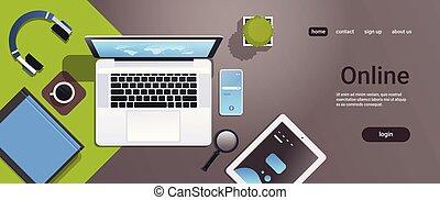 smartphone, ângulo, escritório, tabuleta, espaço, móvel, laptop, topo, desktop, material, local trabalho, online, tela, horizontais, cópia, computador, app, vista